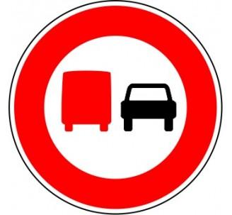 """Kit ou panneau seul type routier """"Interdiction aux camions de plus de 3,5t de dépasser tous les véhicules"""" ref: B3a"""