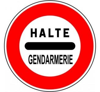 """Kit ou panneau seul type routier """"Arrêt au poste de gendarmerie"""" ref: B5a"""