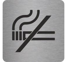 Plaque porte alu picto carré défense de fumer