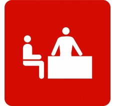 Plaque porte alu ou pvc picto carré logo bureau