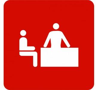 Plaque porte alu picto carré logo bureau