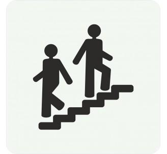 Plaque porte alu picto carré escalier
