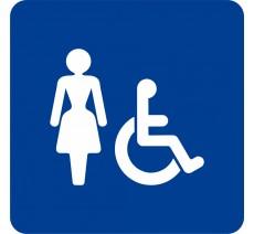 Plaque porte alu ou pvc picto carré toilettes femme, handicapé