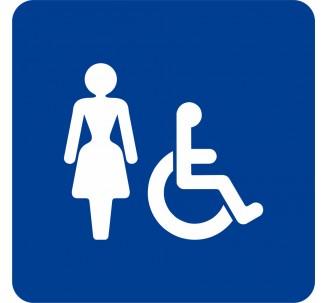 Plaque porte alu picto carré toilettes femme, handicapé