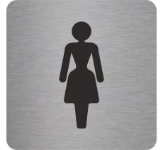 Plaque porte alu ou pvc picto carré toilettes femme