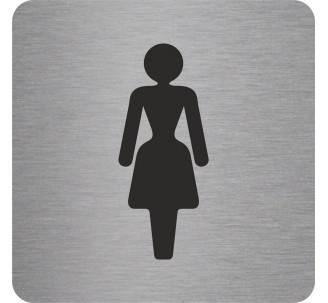 Plaque porte alu picto carré toilettes femme