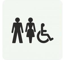 Plaque porte alu ou pvc picto carré toilettes mixtes, handicapé