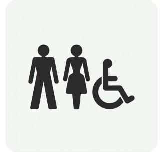 Plaque porte alu brossé picto carré toilettes mixtes, handicapé