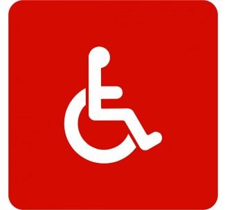 Plaque porte alu picto carré toilettes handicapé