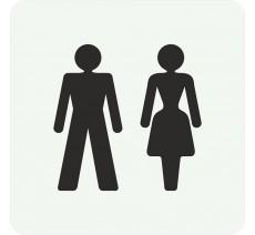 Plaque porte alu ou pvc picto carré toilettes mixtes