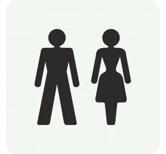 Plaque porte alu picto carré toilettes mixtes