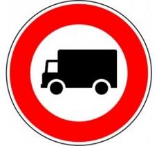 """Kit ou panneau seul type routier """"Accès interdit aux camions"""" ref: B8"""