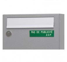 """Plaque """"PAS DE PUBLICITE - SVP"""" - Fond vert, texte gravé blanc"""