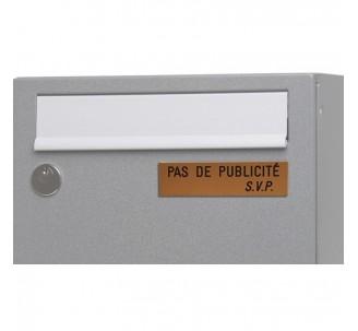 """Plaque """"PAS DE PUBLICITE - SVP"""" - Fond or, texte gravé noir"""