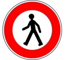 """Kit ou panneau seul type routier """"Accès interdit aux piétons"""" ref: B9a"""