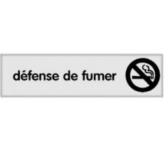 Plaque de porte plexi argent défense de fumer
