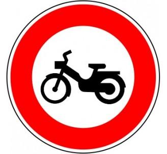 """Kit ou panneau seul type routier """"Accès interdit aux cyclomoteurs"""" ref: B9g"""