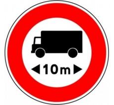 """Kit ou panneau seul type routier """"Accès interdit aux camions de plus de 10m"""" ref: B10a"""