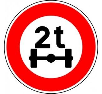 """Kit ou panneau seul type routier """"Accès interdit aux véhicules de plus de 2t"""" ref: B13a"""