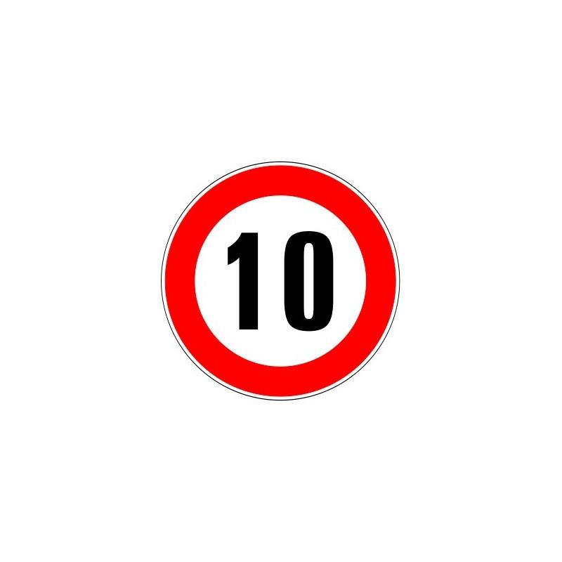 panneau routier limitation de vitesse interdiction de d passer 10 kmh. Black Bedroom Furniture Sets. Home Design Ideas
