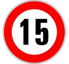 """Kit ou panneau seul type routier """"Limitation de vitesse - Interdiction de dépasser 15 kmh"""" ref: B14"""