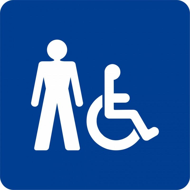 Plaque porte alu bross picto carr toilettes homme handicap for Porte wc handicape