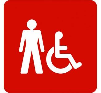 Plaque porte alu brossé picto carré toilettes homme, handicapé