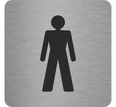Plaque porte alu ou pvc picto carré toilettes homme