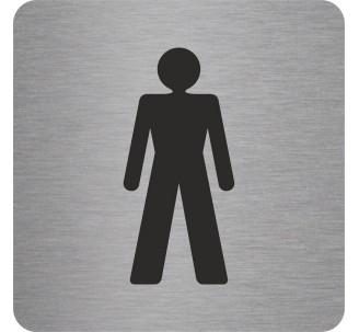 Plaque porte alu picto carré toilettes homme