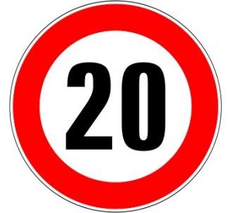 """Kit ou panneau seul type routier """"Limitation de vitesse - Interdiction de dépasser 20 kmh"""" ref: B14"""