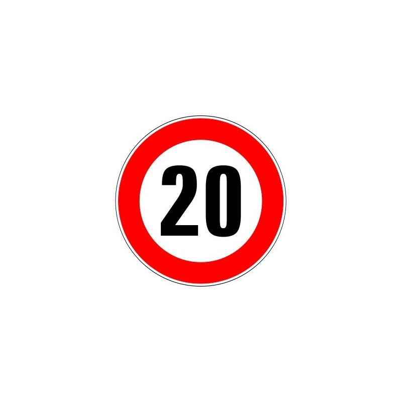 panneau type routier interdiction de d passer 20 kmh. Black Bedroom Furniture Sets. Home Design Ideas