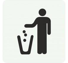 Plaque porte alu picto carré poubelle