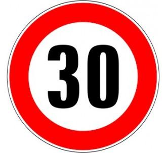 """Kit ou panneau seul type routier """"Limitation de vitesse - Interdiction de dépasser 30 kmh"""" ref: B14"""