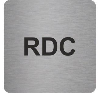 Plaque porte alu picto carré RDC