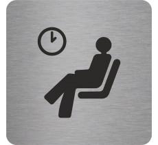 Plaque porte alu ou pvc picto carré logo salle d'attente