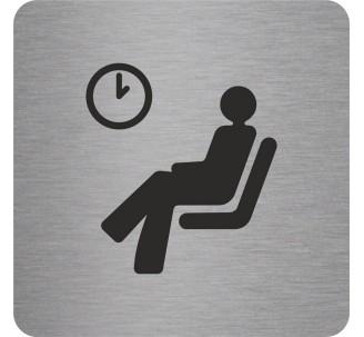 Plaque porte alu brossé picto carré salle d'attente