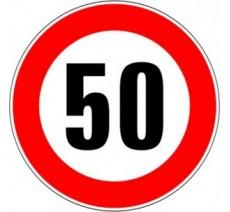 """Kit ou panneau seul type routier """"Limitation de vitesse - Interdiction de dépasser 50 kmh"""" ref: B14"""