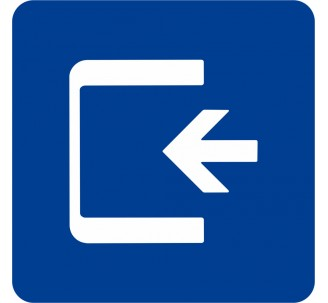 Plaque porte alu brossé picto carré sortie de secours flèche gauche