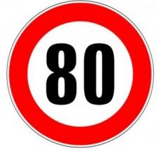 """Kit ou panneau seul type routier """"Limitation de vitesse - Interdiction de dépasser 80 kmh"""" ref: B14"""