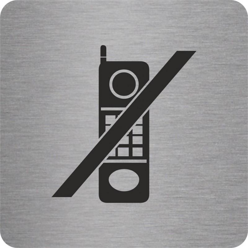 plaque porte alu bross picto carr t l phone interdit. Black Bedroom Furniture Sets. Home Design Ideas