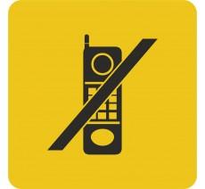 Plaque porte alu ou pvc picto carré téléphones interdits
