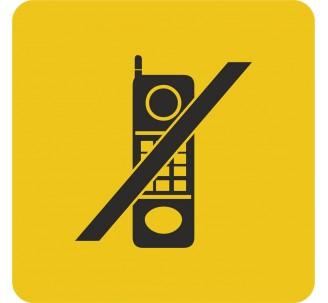 Plaque porte alu brossé picto carré téléphone interdit