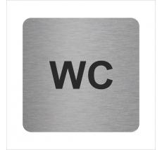 Plaque porte alu ou pvc brossé picto carré wc