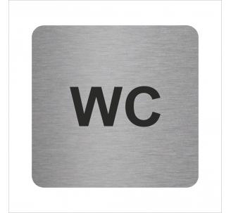 Plaque porte alu brossé picto carré wc