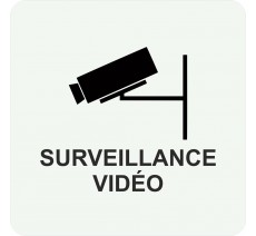 Plaque porte alu  picto carré surveillance vidéo