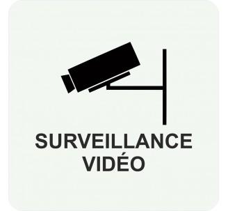 Plaque porte alu brossé picto carré surveillance vidéo