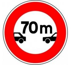 """Kit ou panneau seul type routier """"Interdiction aux véhicules de circuler sans maintenir une distance de 70 m"""" ref: B17"""