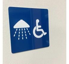 Plaque porte alu ou pvc picto carré douche, handicapé