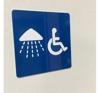 Plaque porte alu brossé picto carré douche, handicapé