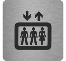 Plaque porte alu ou pvc brossé picto carré ascenseur